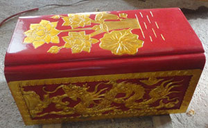 tiểu quách gỗ vàng tâm sơn son thiếp vàng mẫu 2